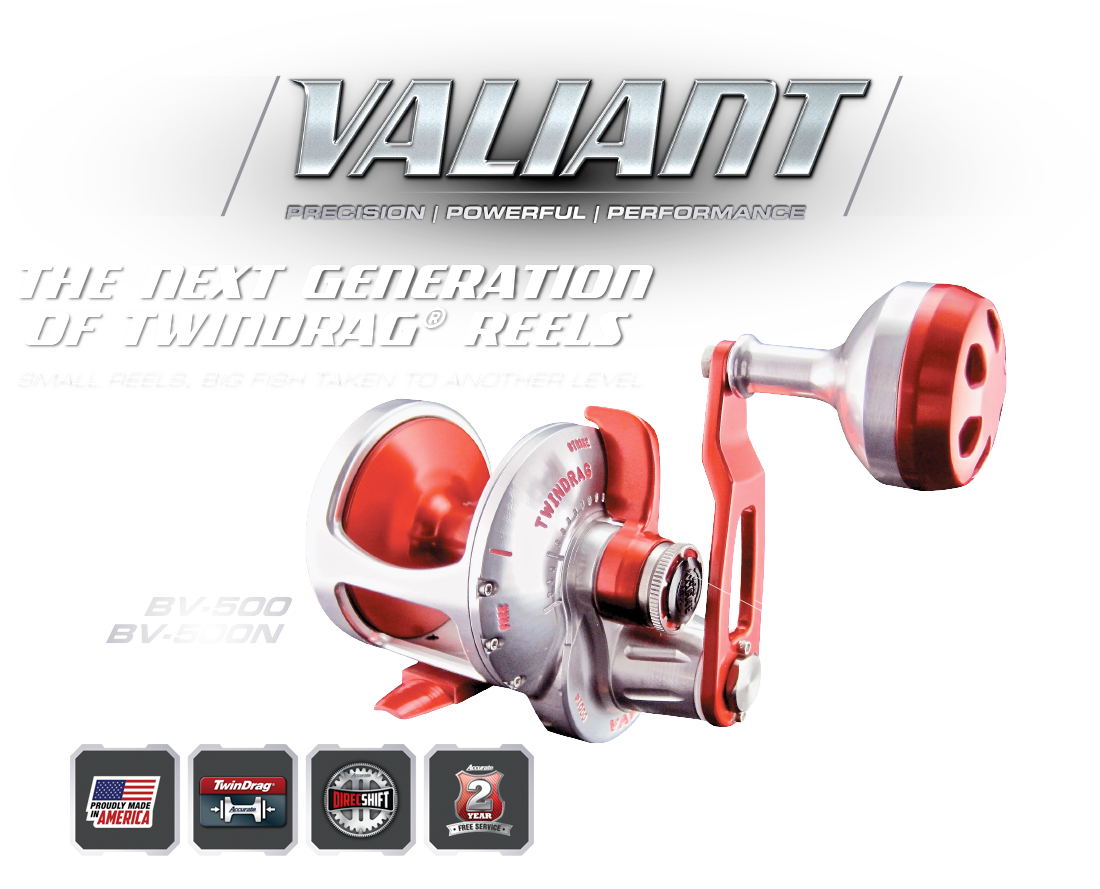 Valiant BV2-400 | Light weight at only 14oz 20+ pounds of drag Sleeved spool for extreme castability All new ergonomically-correct design Accustop calibrated drag lever Stainless Steel ARB Bearing 17-4 Heat Treated Steel Gears and Gear Shaft 2 - Year Free Service Program Line Capacity 50 lb / 325YDS Braid Patented Twin Drag™ AVAILABLE IN SINGLE AND 2-SPEED MODELS USA Built