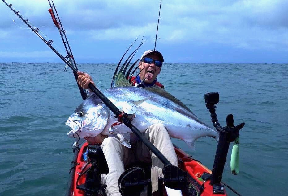 rooster fish on kayak
